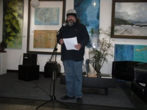 Paul Corman-Roberts. Cleveland Poetry Crawl, Broken Pulpit Poetry Reading.