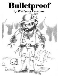 "Cover of the poetry book ""Bulletproof"" by Wolfgang Carstens."